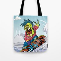 snowboarding Tote Bags featuring Snowboarding by Brain Drain Fox
