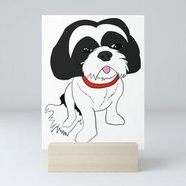 Black and white Shih Tzu Mini Art Print