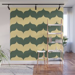 forest green and peach plain half onions Wall Mural