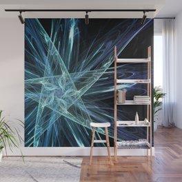 Aqua-Blue Ice Crystals Star Fractal Art Wall Mural