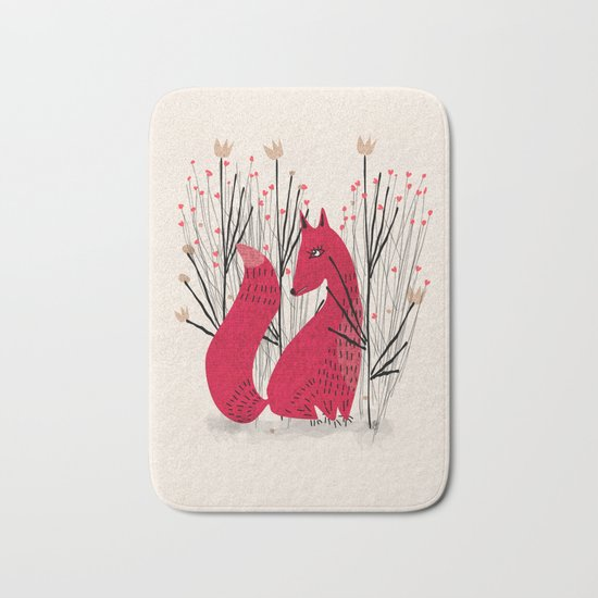 Fox in Shrub Bath Mat