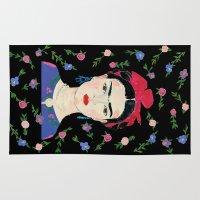 frida kahlo Area & Throw Rugs featuring Frida Kahlo by Usagi Por Moi