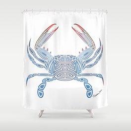 Tribal Blue Crab Shower Curtain