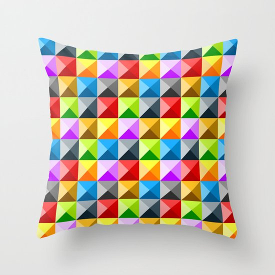 Colorful quarter square triangle pattern Throw Pillow