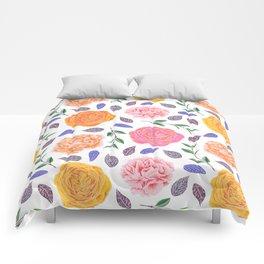 Modern pink yellow orange watercolor leaves floral Comforters