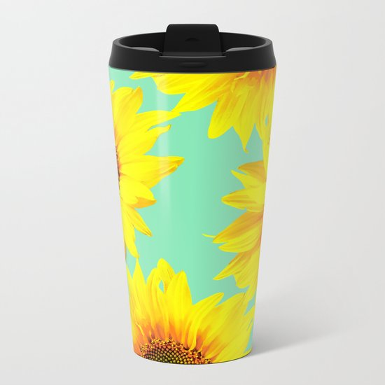 Sunflowers on a pastel green backgrond - #Society6 #buyart Metal Travel Mug
