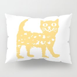Yellow cat drawing, yellow cat pattern, yellow cat design Pillow Sham