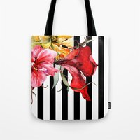 flora Tote Bags featuring FLORA BOTANICA | stripes by Cheryl Daniels