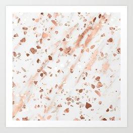 Pink Quartz Terrazzo + Rose Gold Marble Art Print