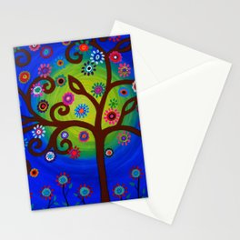 Whimsical Tree of Life Summer Dreams Painting Stationery Cards