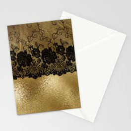 Black luxury lace on gold glitter effect metal- Elegant design Stationery Cards