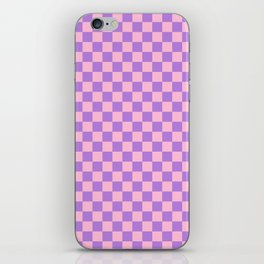 Cotton Candy Pink and Lavender Violet Checkerboard iPhone Skin