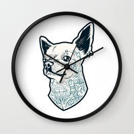 Tattooed Chihuahua Wall Clock