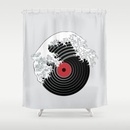 The Great Wave of Music DJ Vinyl Record Turntable Hokusai Shower Curtain