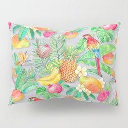 Tropical Paradise Fruit & Parrot Pattern Pillow Sham