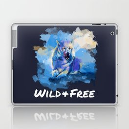 Wild and Free - Wolf illustration, quote Laptop & iPad Skin