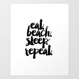 "Nurery quote ""EAT BEACH SLEEP REPEAT""Children Quote Beach Quote Summer Quote TYPOGRAPHY ART Art Print"