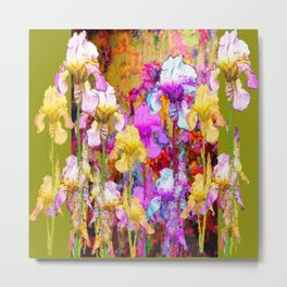 MIXED IRIS FLORAL AVOCADO ART DESIGN Metal Print