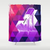 popsicle Shower Curtains featuring Grape Popsicle by Spires