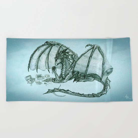 """Material Girl"" by Amber Marine ~ (Sea Mist Version) Graphite & Charcoal Dragon Art, (c) 2005 Beach Towel"