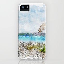 Aquarelle sketch art. Seagull on the rocky beach in Istria, Croatian coast iPhone Case