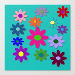 Flower Power - Teal Background - Fun Flowers - 60's Style - Hippie Syle Canvas Print
