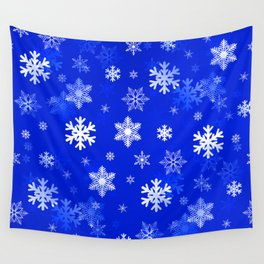 Light Blue Snowflakes Wall Tapestry