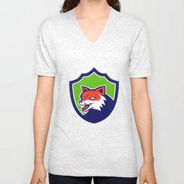 Red Fox Head Growling Shield Retro Unisex V-Neck