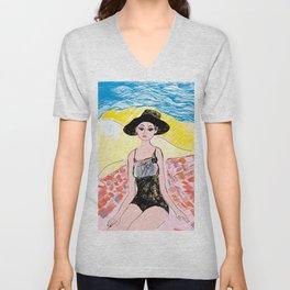 Woman on the beach 6 Unisex V-Neck