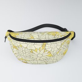 yellow lines pattern with bouquet Fanny Pack
