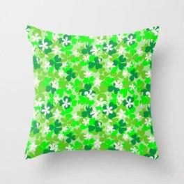 St Patrick's Day Shamrocks Pattern Throw Pillow
