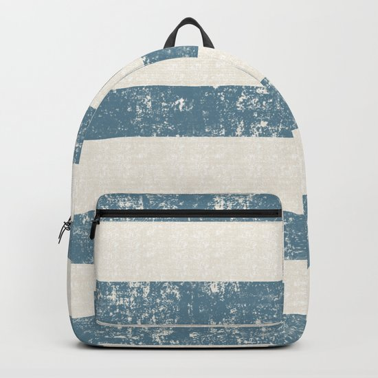 Maritime Beach Pattern- Blue and White Stripes- Horizontal- Backpack