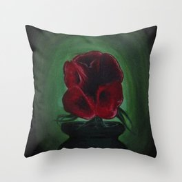 Red Flowers in Green Setting Throw Pillow