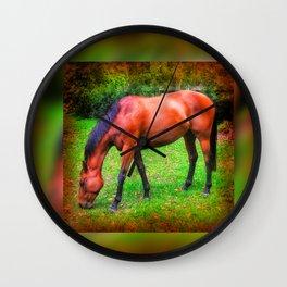 Brown horse grazing Wall Clock