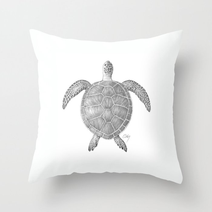 Sea Turtle Pencil Drawing Throw Pillow