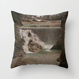 Sava River Waterfall Throw Pillow