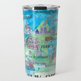 New Orleans Louisiana Favorite Travel Map with Touristic Highlights in colorful retro print Travel Mug
