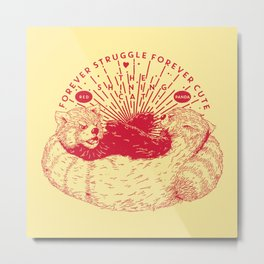 Red Panda Struggle Metal Print