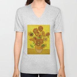 Vincent Van Gogh Fifteen Sunflowers In A Vase Unisex V-Neck
