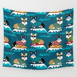 Surfing Corgis Dog summer beach hang 10 catch a wave summer dog pattern Wall Tapestry