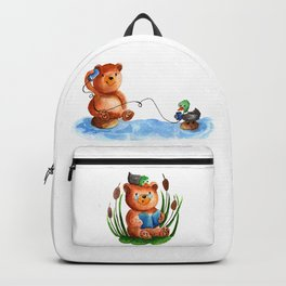 Cute watercolor pattern for kids about Teddy Bear and little Duck's friendship Backpack