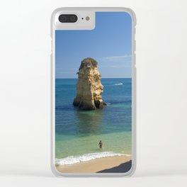 Rock on the beach, the Algarve coast, Portugal Clear iPhone Case