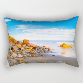 sandy beach with blue cloudy sky in summer Rectangular Pillow