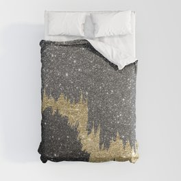 Chic black gold glitter abstract brushstrokes Comforters