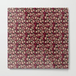 Flower Skulls - Skull pattern day of the dead mexico flowers Metal Print