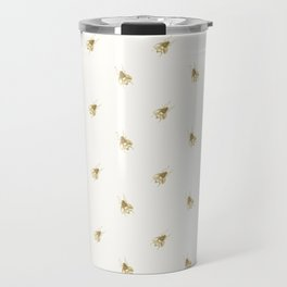 Gold Watercolour Bee Print Travel Mug