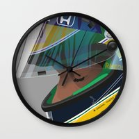 senna Wall Clocks featuring Senna Meditation by Borja Sanz