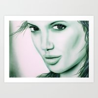 angelina jolie Art Prints featuring Angelina Jolie by Lucky art