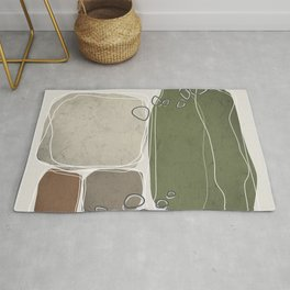 Retro Block Design in Sage Green and Neutral Rug
