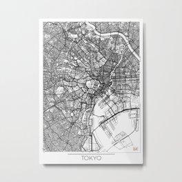 Tokyo Map White Metal Print
